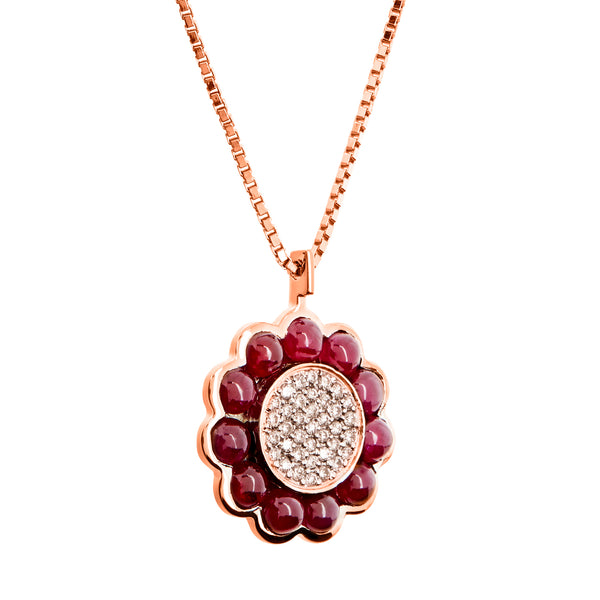 Pendant Ruby Rose Gold Margaret Flower Ruby