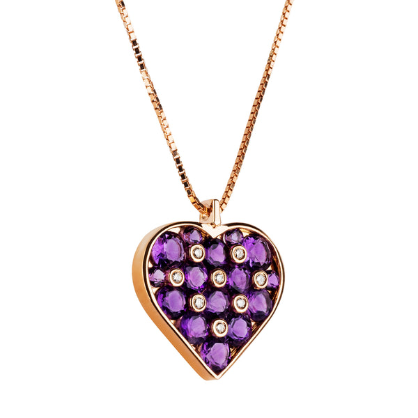 Pendant Heart Rose Gold Amethyst And Diamonds