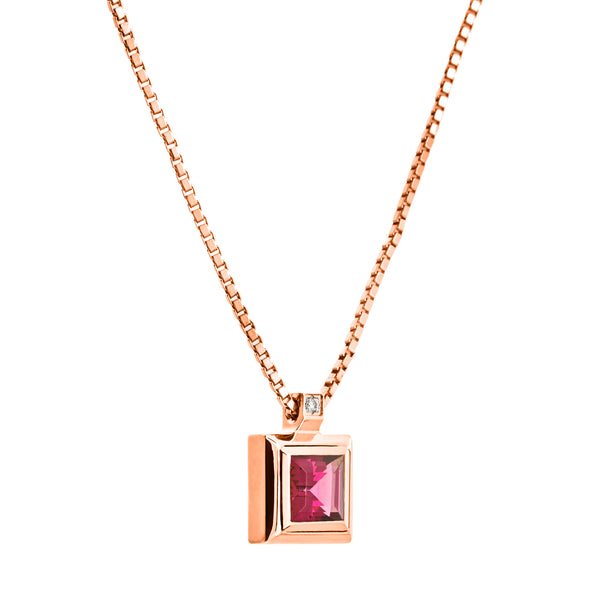 Pendant Rose Gold  Center Rhodolite Oreage CNP-0124/18