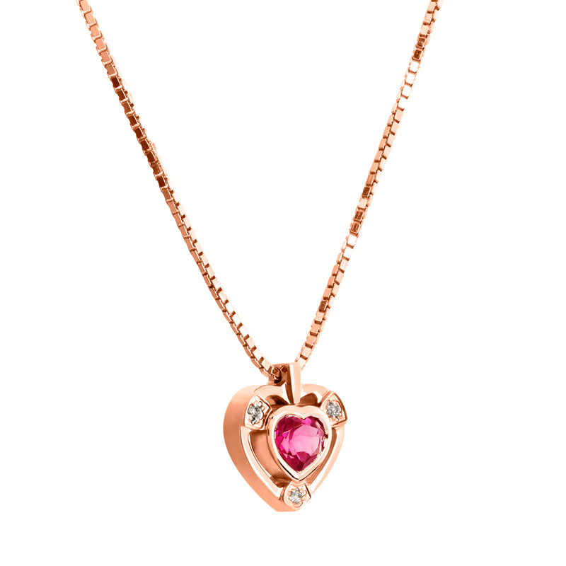 Pendant  Heart YELLOW GOLD Rhodolite CNP-0126/317