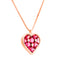 Pendant Heart Rose gold Rhodolite and Diamonds Cnp-0156/75