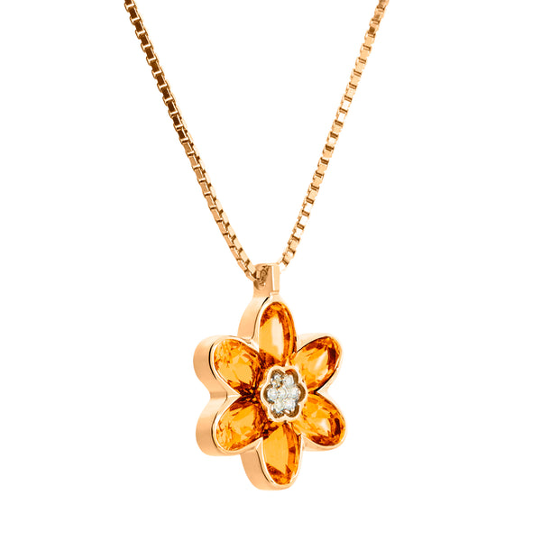 Pendant Flower Gold Citrine and Diamonds CNP-0186