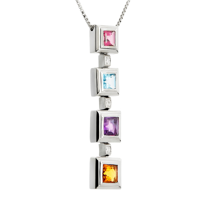 Pendant silver multicolor gems and Diamonds cnp-0222