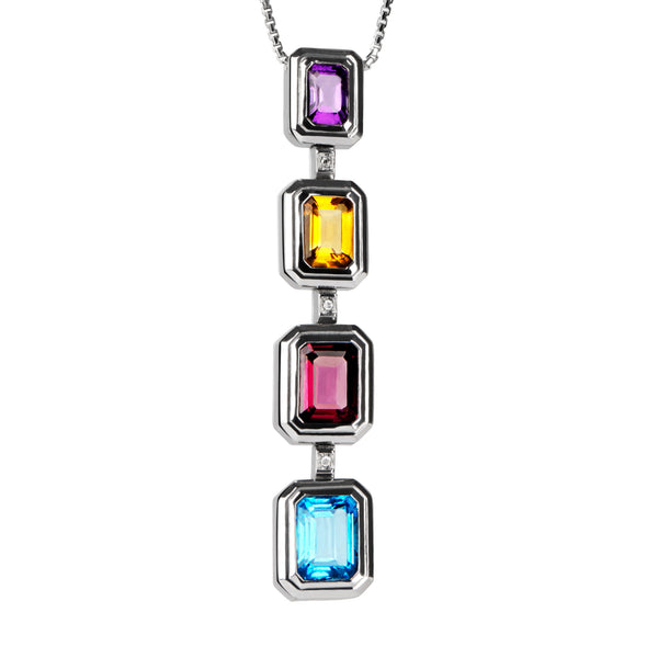 Pendant Silver Multicolor Gems And Diamonds