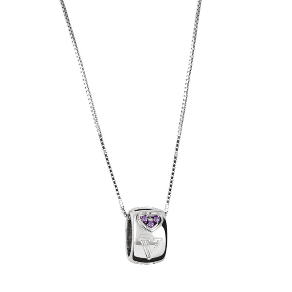 Pendant Love silver Amethyst And Diamonds