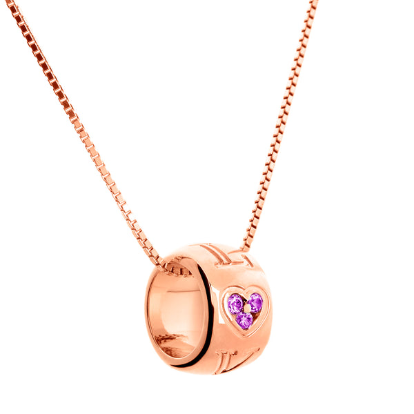 Pendant Love Rose Gold Amethyst And Diamonds