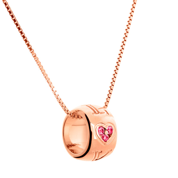 Pendant Love Rose Gold Ruby And Diamonds