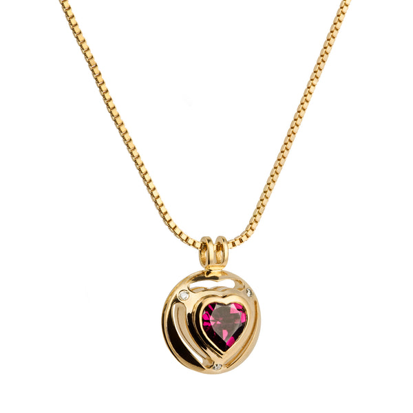 Pendant Heart Rose Gold  Rhodolite  And Diamonds