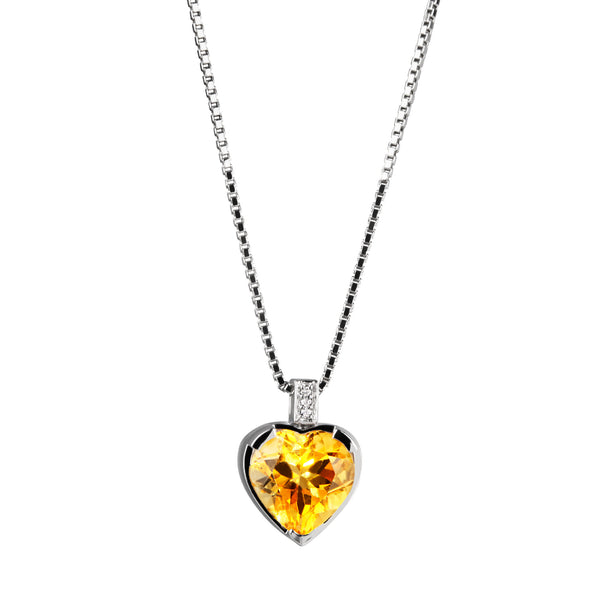 Pendant Silver citrine  Heart & Diamond