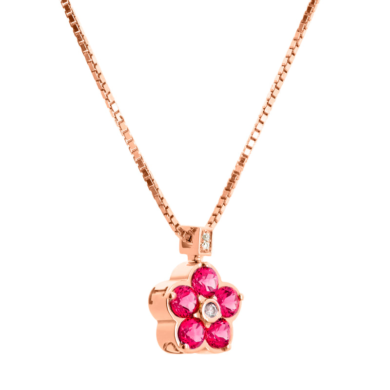 Pendant Rose Gold Rhodolite and Diamonds Cnp-0355/13