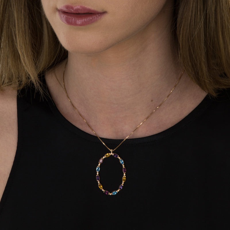 Pendant  Gold Oval Multicolor Gems and Diamonds Model Barcelona