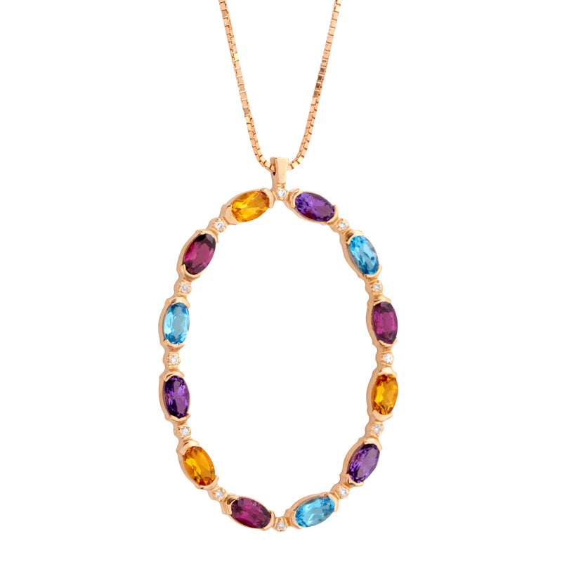 Pendant  Gold Oval Multicolor Gems and Diamonds Cnp-0205/31