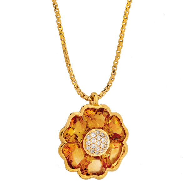 Pendant  Flower Gold Citrine   and Diamonds JP-0611-b/33