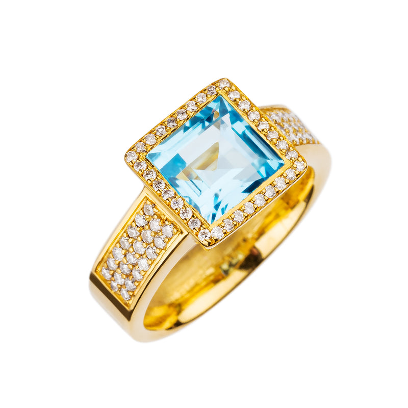 Ring Yellow Gold Blue Topaz