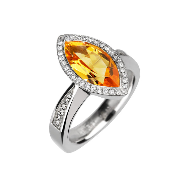 Ring Silver Citrine & Diamonds
