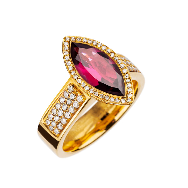RING YELLOW GOLD  Rhodolite Marquise JR-1103/12