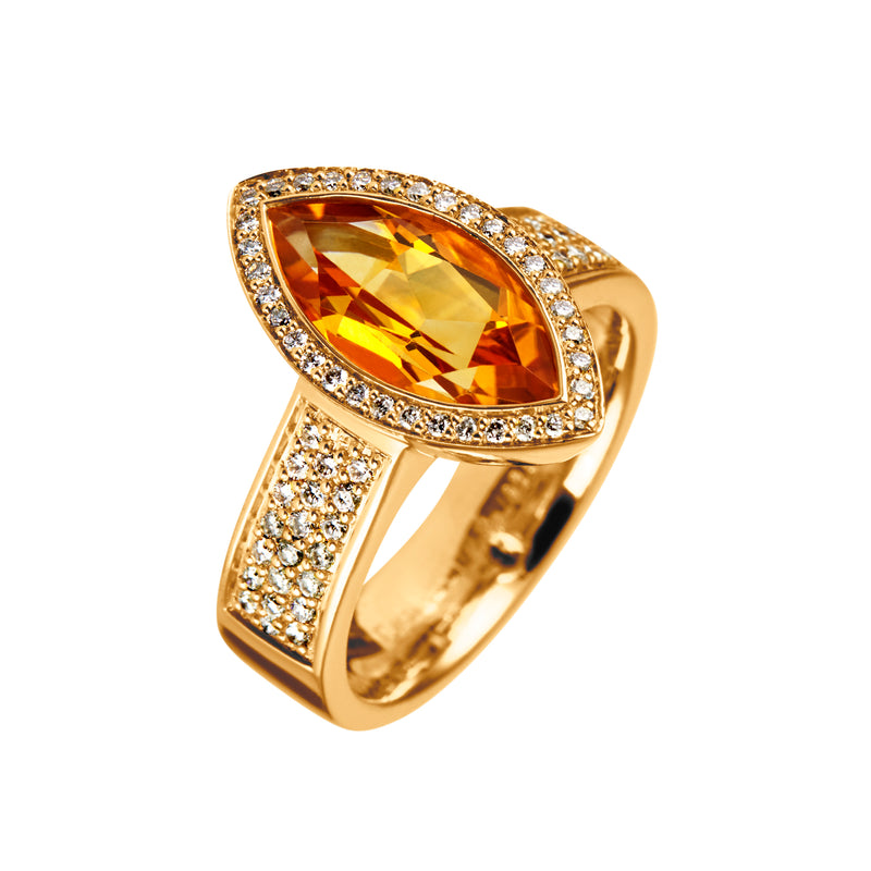 Ring Gold Citrine Marquise and Diamonds JR-1103/26