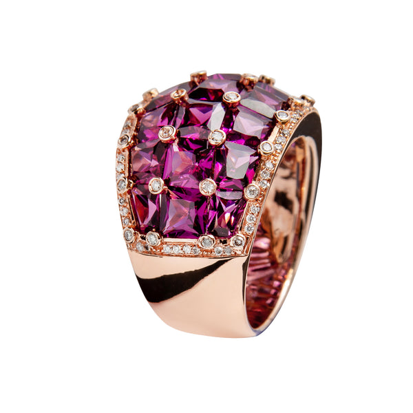RING Rose GOLD Rhodolite  JR-1116/3