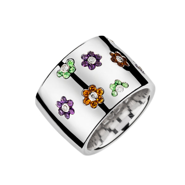 Ring Silver Multi Color Flower Gems