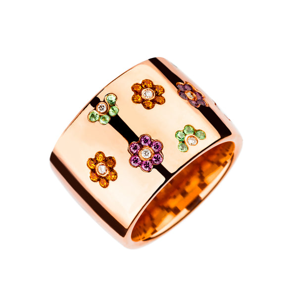Ring Rose Gold Multi Color Flower Gems
