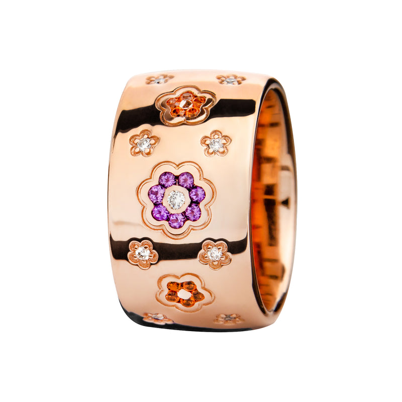RING Rose GOLD  Flower Amethyst  and Citrine Lcd-3043/12