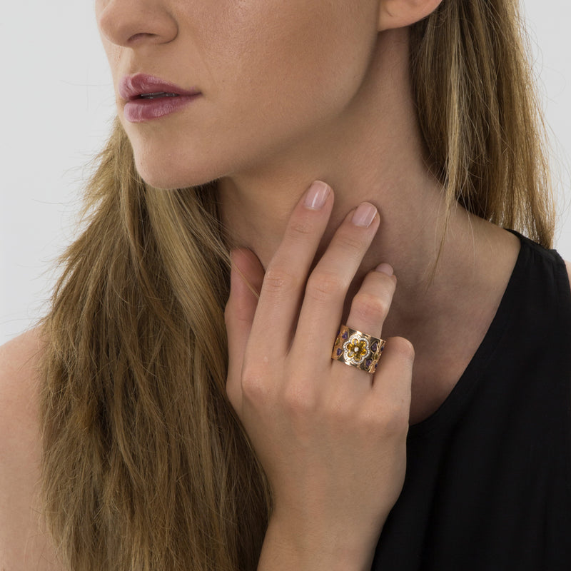 RING Rose GOLD Citrine & Amethyste Model Barcelona