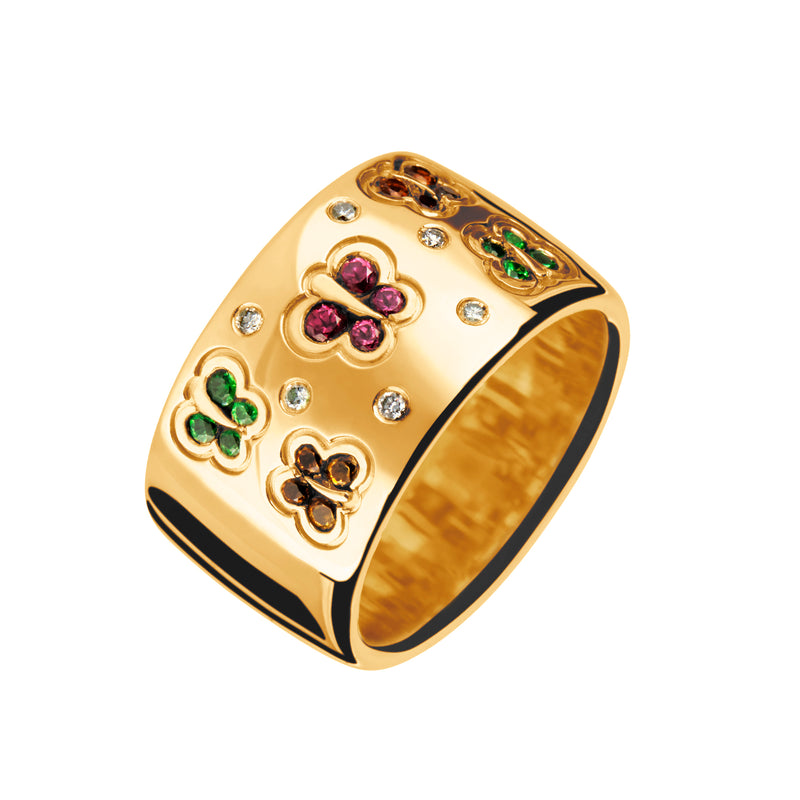 Ring Gold butterfly Rhodolite, Tsavorite, and Diamonds lcd-3057/33