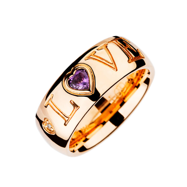 LOVE RING  ROSE GOLD Amethyste  LCD-3092