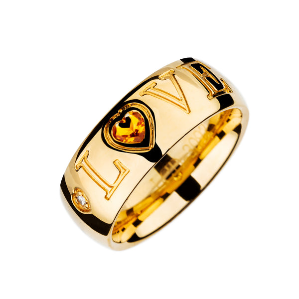 Anillo Oro Amarillo Love Citrino