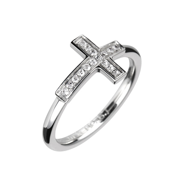 Anillo Plata Cruz Diamantes