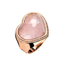Ring Rose Gold Rose quartz heart shape Lcd-3185