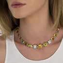 Necklace YELLOW GOLD Multicolor Gems Model Barcelona