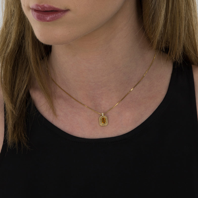 Pendant   Gold citrine and Diamonds Model Barcelona
