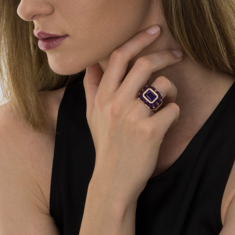 RING Rose GOLD Amethyste model Barcelona
