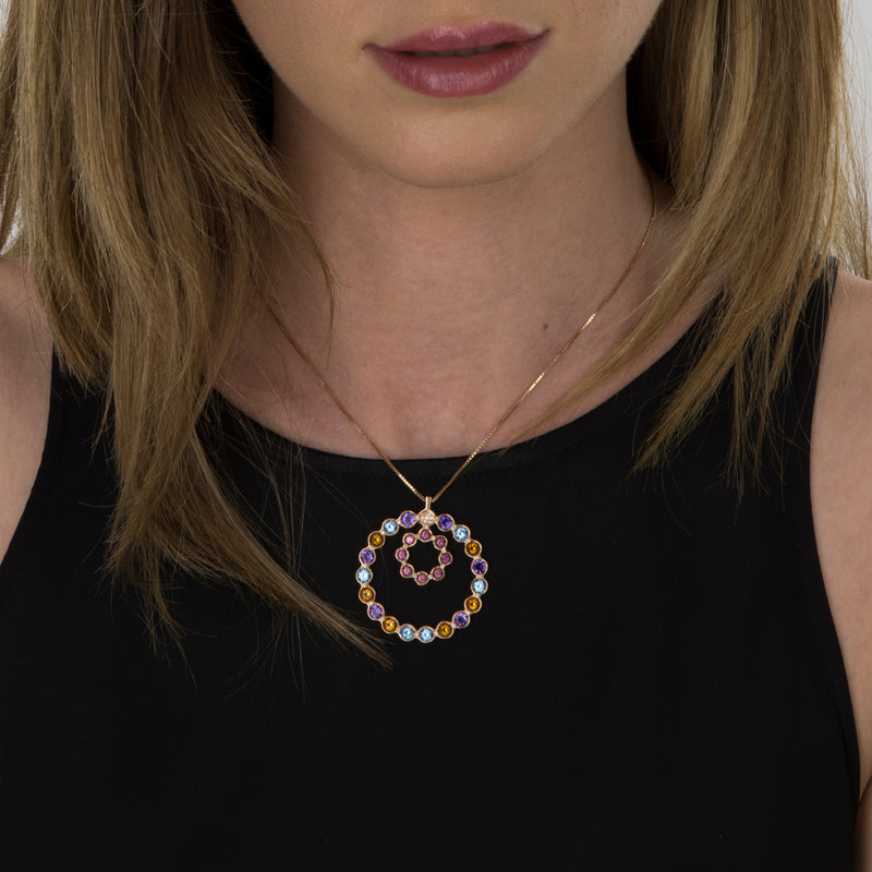 Pendant  RoseGold Circle  Multicolor Gems and Diamonds Model Barcelona