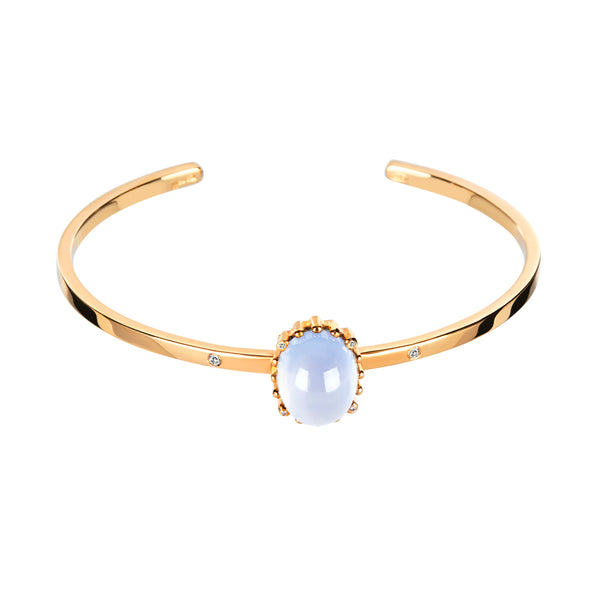Bangle Gold Calcedonia& diamond