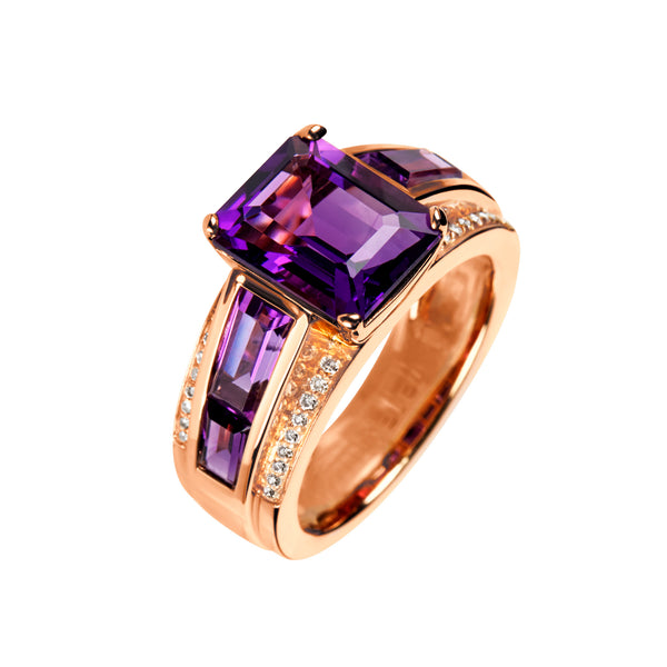 Ring rose gold amethyste octagon and baguette