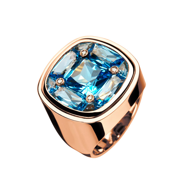RING Rose GOLD Blue Topaz LCD-3106-4