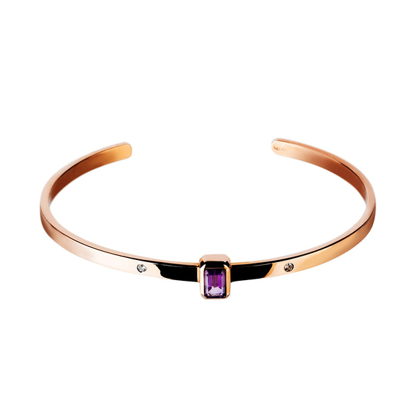 Bangle Yellow Gold Amethyst & Diamonds