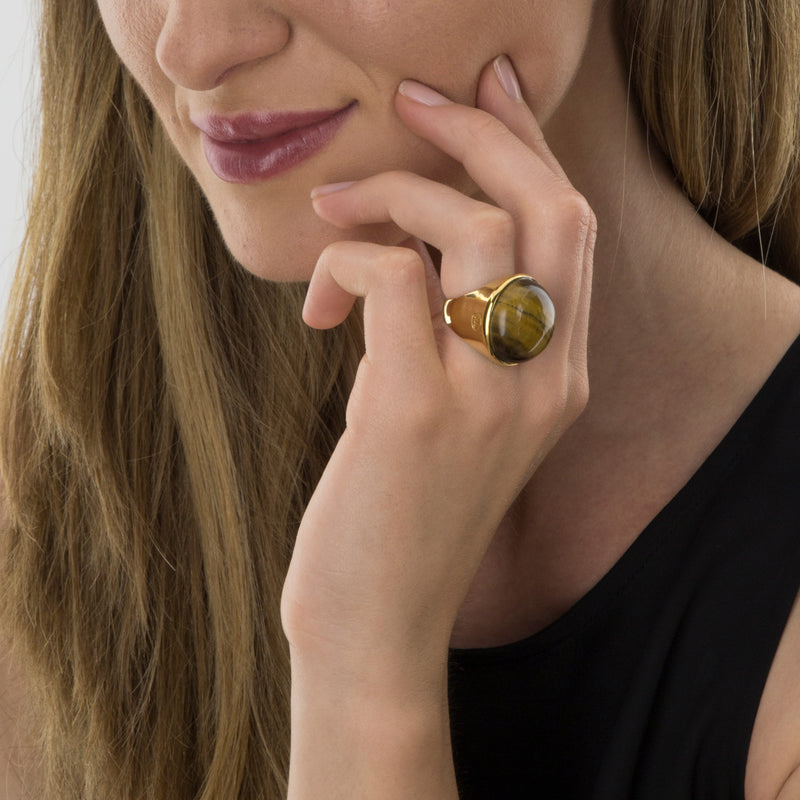 RING GOLD Tiger Eye  model Barcelona