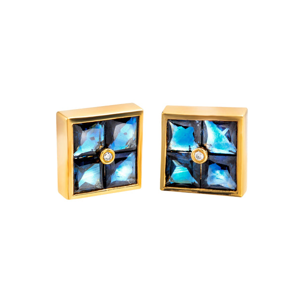 Earings Gold Sapphire  Diamonds cne-0042