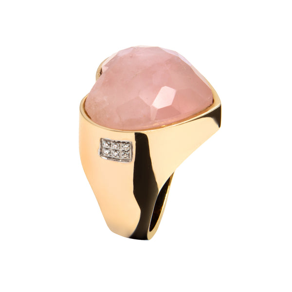 Heart RING YELLOW GOLD Rose quartz oreage 3690