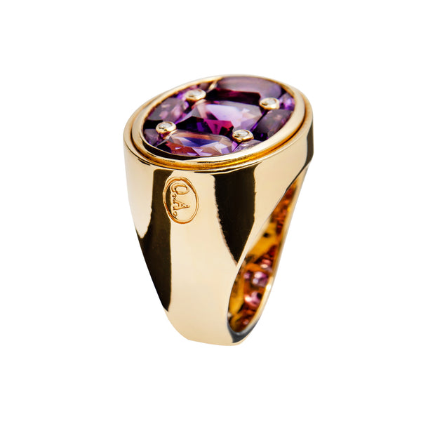 RING YELLOW GOLD Amethyste LCD-3104