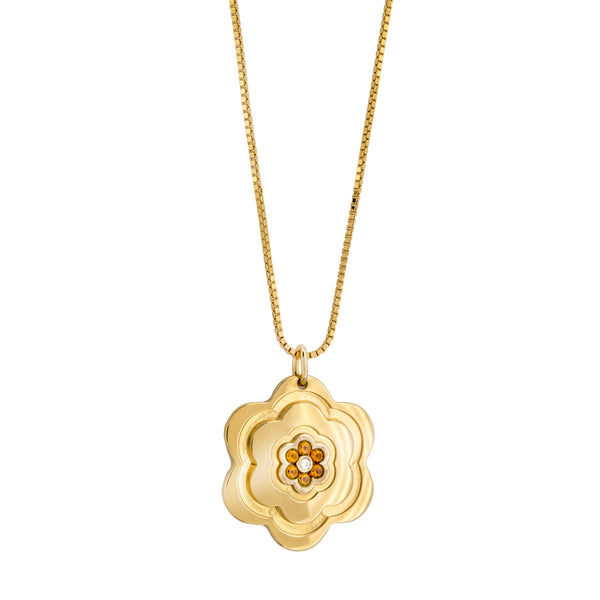 Pendants yellow gold flower Citrine, Diamonds Cnp-0339