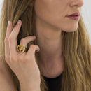 RING YELLOW GOLD CITRINE Model Barcelona