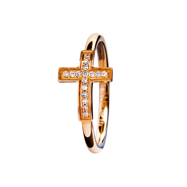 Ring Rose Gold  Cross Diamond