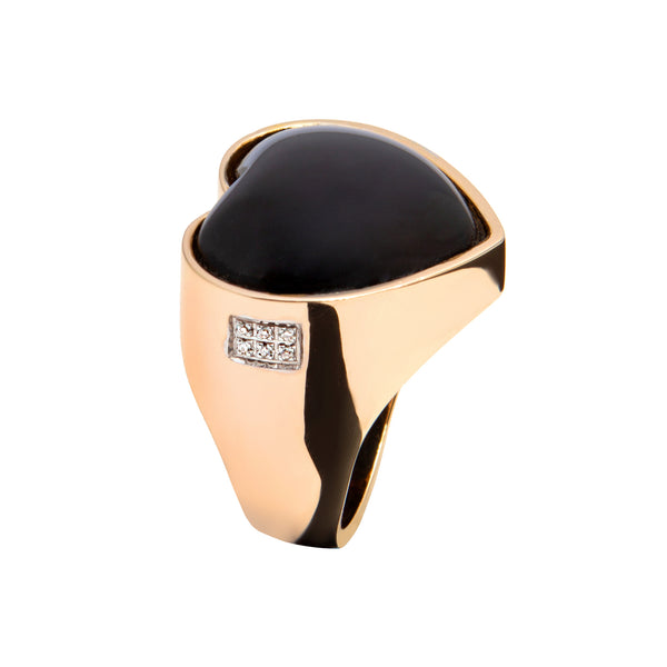 RING  GOLD  Heart Onyx oreage-3711