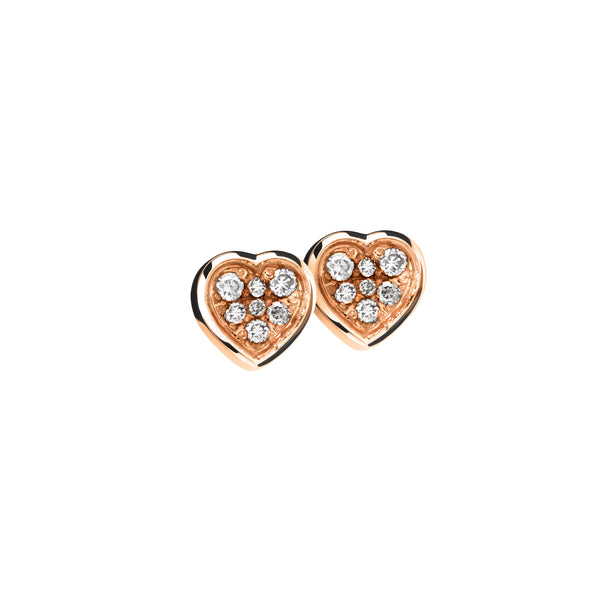 Earring Rose Gold Diamond Heart