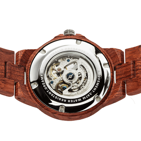 This is a fabulous design of a mechanical men's wood watch. It is a combination of metal and wood. You can feel the beautiful design of the mechanics embedded in the heart of each watch. Every piece of gear is installed by hand and is precisely tested by our fully trained mechanics.