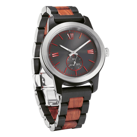Personalized Engraved Ebony & Rosewood Watch